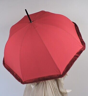 Faux Fur Trimmed Vintage Unusual Red Parasol W Lucite Handle Made In France