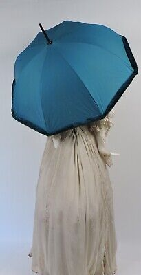 Unusual Faux Fur Trimmed Vintage Blue Parasol W Lucite Handle - Made In France