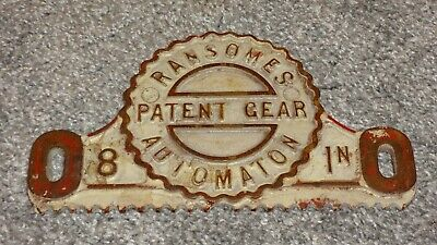 Genuine Antique Cast Iron Ransomers Automation Patent Gear Sign - Collectable!