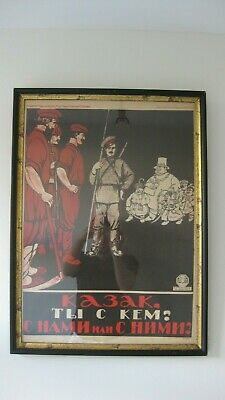 1920's Russian Revolution Propaganda Print - Cossack With Us or With Them - Moor