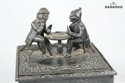 Antique 19th Century Cast Iron Figural Card Players Tobacco Box