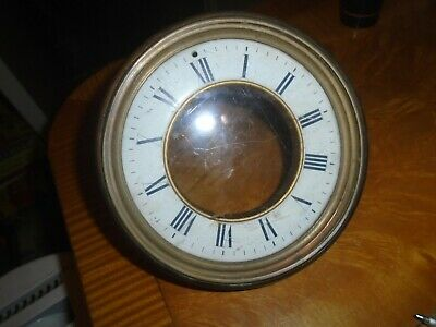 ANTIQUE ENAMEL CLOCK DIAL,GLASS & FITTINGS- 12 cms DIAL-SEE THROUGH ESCAPEMENT