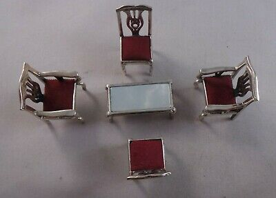 Meduso Oro Sterling Silver Miniature Dolls House Set Of Furniture