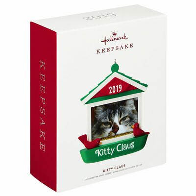 Hallmark Keepsake 2019 Kitty Claus Cat in Bird Feeder Dated Photo Frame Ornament