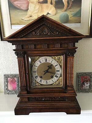 Extremely Rare Carl Werner Walnut Cased Ting Tang Bracket Clock
