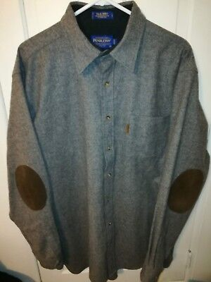 Pendleton Mens XL Tall Long Gray Wool Trail Shirt with Suede Elbow Patches EUC