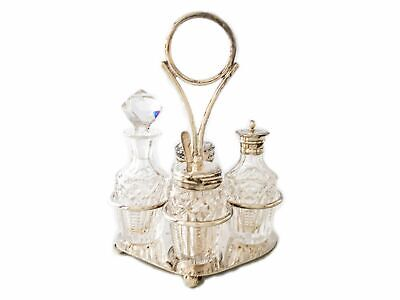 Antique Silver Plate Cut Crystal Glass Condiment Cruet Set England Israel Freema