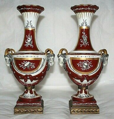 Vintage Ovington New York French Vases Pair Hand Painted Sevres? France Rams