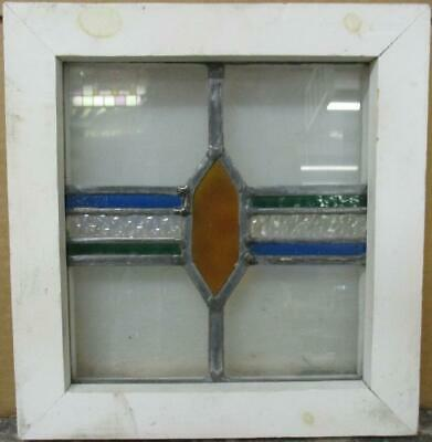 "OLD ENGLISH LEADED STAINED GLASS WINDOW Cute Tiny Geometric Design 11"" x 11.5"""