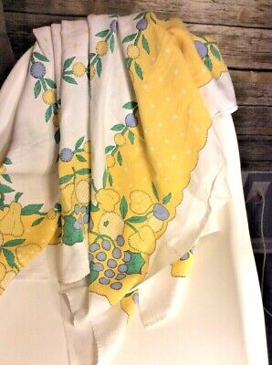 Vintage linen tablecloth white/yellow polka-dot lemons, berry flowers  EUC!