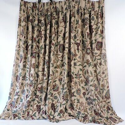 Antique Huge Hand Done Floral Crewelwork Long Curtain Drape Panel