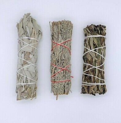 3X Sage Smudge Stick Bundle Sampler Kit: White, Blue, Yerba Santa