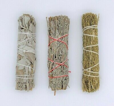 Set of 3: Sage Smudge Stick Bundle Sampler Kit: White, Blue, Desert