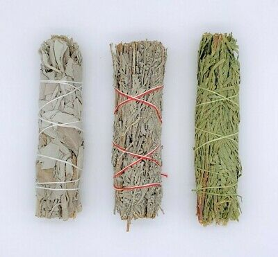 Set of 3: Sage Smudge Stick Bundle Sampler Kit: White, Blue, Cedar