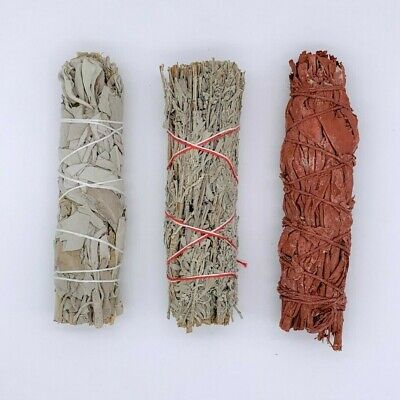 Set of 3: Sage Smudge Stick Bundle Sampler Kit: White, Blue, Dragons Blood