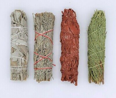 4X : Sage Smudge Stick Bundle Sampler Kit: White, Blue, Dragons Blood, Cedar