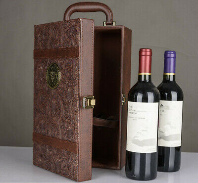 Wine Bottle Box Holds 2 Bottles Luxury Bag Red Wine Champagne Tote Carrier Case