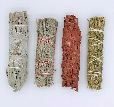 4X : Sage Smudge Stick Bundle Sampler Kit: White, Blue, Dragons Blood, Desert