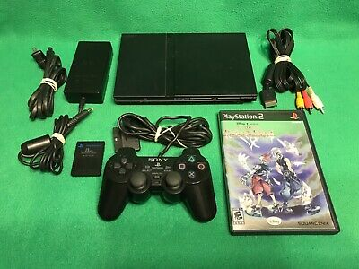 Sony PlayStation 2 PS2 Slim Black Console Controller Kingdom Hearts Video Game