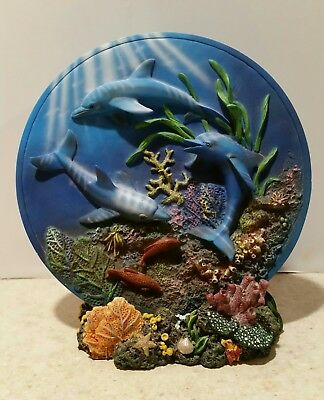 Vintage 3D Dolphins Plate  Coral Reef & Sea Life w Stand Nautical Theme 7""