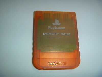 Official OEM Sony Playstation 1 PS1 PSOne Memory Card 1MB SCPH-1020 Clear Orange
