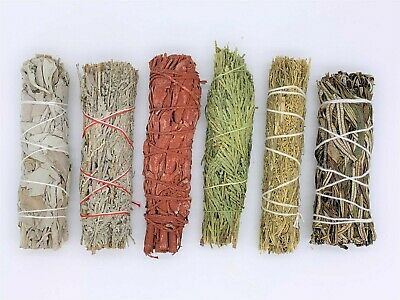 6X:Sage Smudge Stick Sampler: White, Blue, Dragons Blood, Cedar, Desert, Yerba
