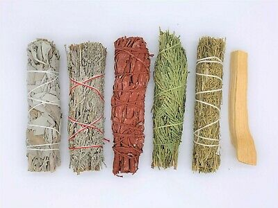 6X:Sage Smudge Stick Sampler: White, Blue, Dragons Blood, Cedar, Desert, Palo