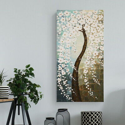 Modern Abstract Hand Draw Art Oil Painting Wall Decor Canvas Framed Flower Tree