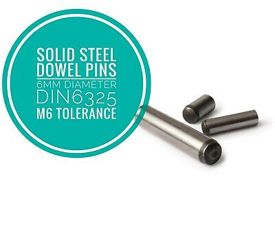 Metric Hardened and Ground Steel Dowel Pins DIN6325 6mm Diameter 25pcs