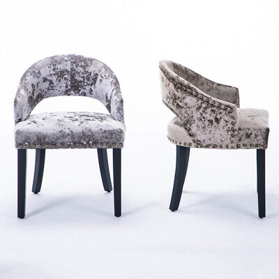 Ice Silver Crushed Velvet Grey Dining Chairs Retro Studded Occasional Armchair