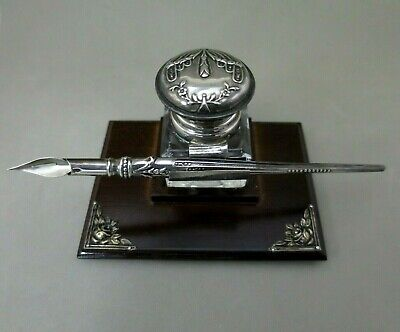 Solid Silver Wood  Stand Inkwell Desk & Dip Nib Pen Hallmarked
