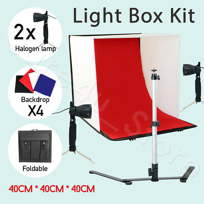LARGE 4x Backdrop LED Light Tent Photography 40cm Box Photo Studio Lighting Lamp