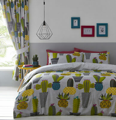 Reversible Grey & Green Fun Cacti Cactus Duvet Quilt Cover Bed Set OR Curtains