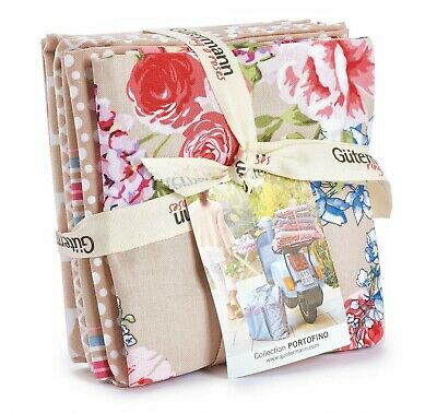 pe... Gutermann Ring a Roses French Cottage Quilting Fabric Fat Quarter Bundle