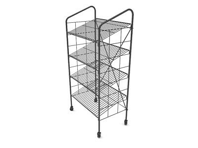 "24.3"" x 41.9"" x 14.7"" Bakery Display Rack w/ Wheels, 4 Wire Gravity Shelves"