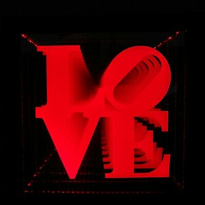 LED LOVE Sign Animated Neon Light Tunnel Lamp Infinity Mirror Frame