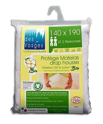 Night of the Vosges 201912 Molton Mattress Cover 100% Organic Cotton White 14...