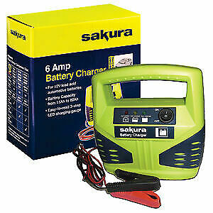 6 Amp Battery Charger For Medium Cars Up To 1.8 Litre Tough Compact Emergency