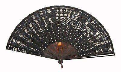 Beautiful 19Th Century French Faux Tortoiseshell Black Lace & Sequin Hand Fan
