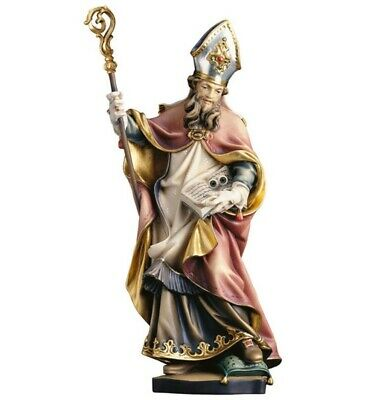 Statue st' Erard cm 20 Carved Wooden of Valgardena Hand Decorated