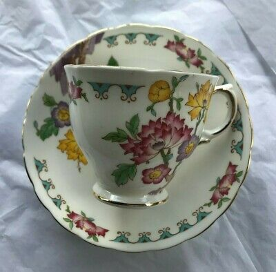 "Tuscan ~ ""Yuan"" ~ Cup & Saucer ~ White ~ Multi-Color Flowers ~ Gold Trim~ Mint"