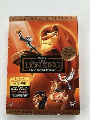 The Lion King Dvd Movie 2-Disc Special Platinum Edition] Disney with Slipcover