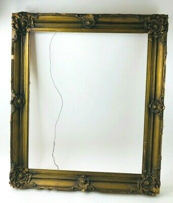Antique Picture Frame Gesso Gold Gilt Wood Baroque Carved 29x25""