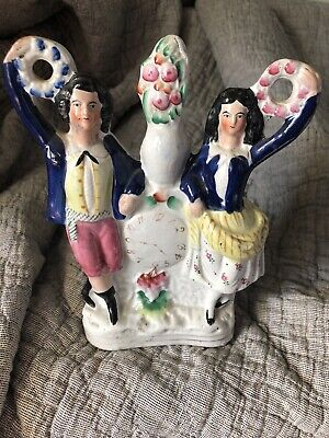 Staffordshire Figure 19th Century Dancers With Wreaths-colbalt glazing