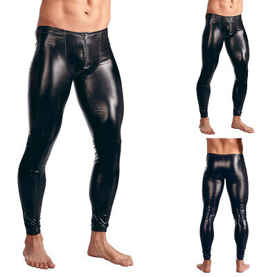 Mens Faux Leather Skinny Muscle Slim Tight Pants Clubwear Legging Long Trousers