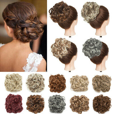 Curly Scrunchie Messy Bun Hair Extensions 100% Real Elastic Wedding Chignon Updo
