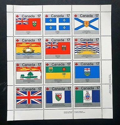 CANADA DAY  1979  Sc# 821-832 Cpl Set PROVINCIAL & TERRITORIAL FLAGS PANE MNH