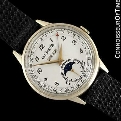 1949 JAEGER-LECOULTRE Vintage Mens Triple Date Moon Phase Watch, 10K Gold Filled