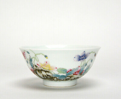 A Finely Painted Chinese Qing Qianlong MK Rich Enamel Floral Porcelain Bowl