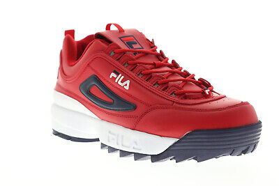 Fila Disruptor II Premium Mens Red Leather Low Top Lace Up Sneakers Shoes